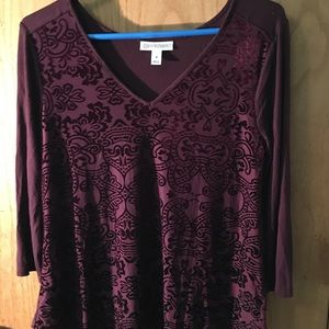 Dana Buchman Tops - Dana Buchman maroon raised velvet design, sz small